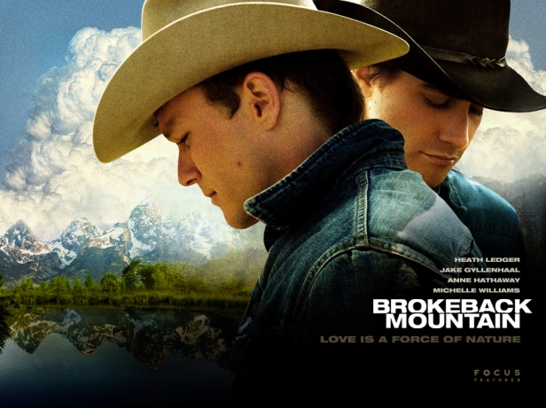 One of the posters for Brokeback Mountain, that positions the men before the landscape