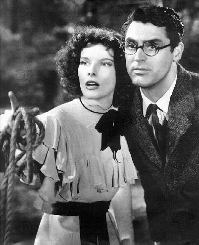 Katharine Hepburn and Cary Grant in the screwball comedy Bringing Up Baby (1938) - the most debonair nerd to ever grace the silver screen