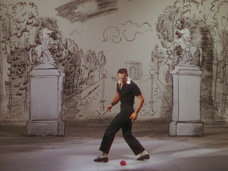 Kelly at the beginning of the American in Paris ballet sequence