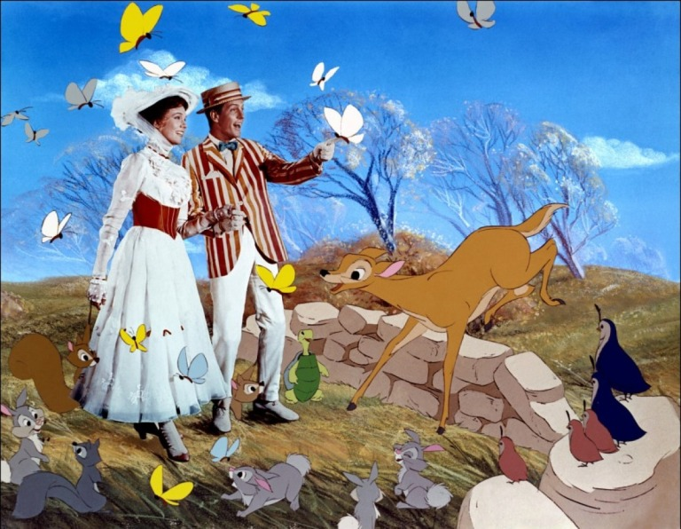 Mary Poppins (Julie Andrews) and Bert (Dick Van Dyke) take a jolly holiday