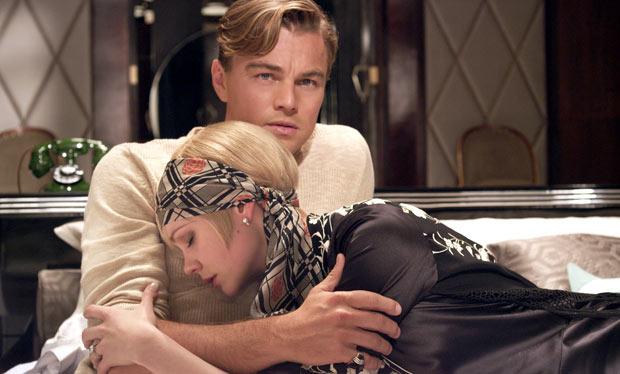 Leonardo DiCaprio as Jay Gatsby and Carey Mulligan as Daisy Buchanan