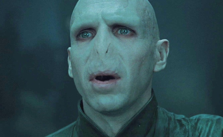 Fiennes as he appears as Lord Voldemort