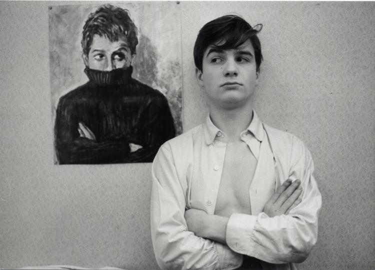 A young Jean-Pierre Leaud stands before his alter ego Antoine Doinel
