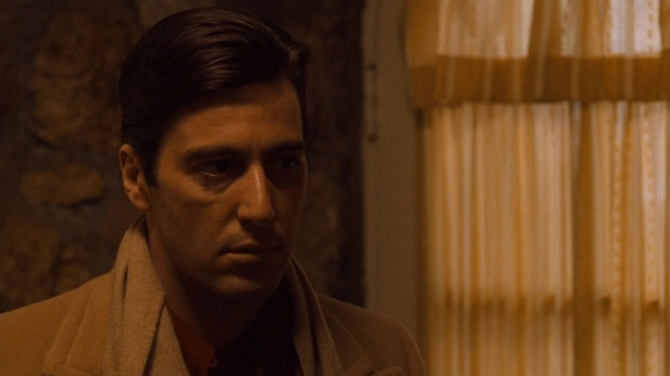 Al Pacino is at his best throughout The Godfather Trilogy, especially Part I and II, in which he acts with his eyes and gives a contained, internal performance